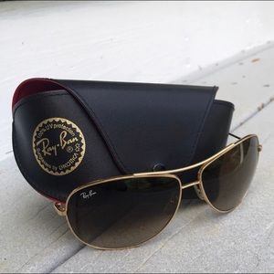 Ray Ban Aviators, Gold with Brown Faded Lenses